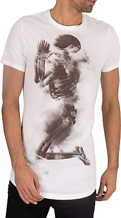 Religion Mens Halftone Skeleton T-Shirt, White, L