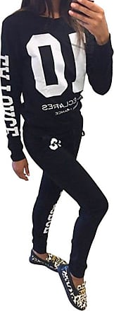 YOUJIA Womens Letter Printed Pullover Sports Sweatshirt + Pants Trousers Sweatpants 2pcs Set Tracksuits (Black, CN XL)