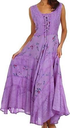 Sakkas 22311 Garden Goddess Corset Style Dress - Purple - L/XL