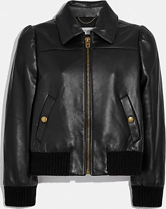 Coach Leather Tailored Bomber Jacket in Black - Size 0