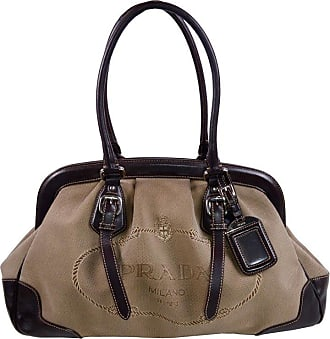 b1b3b7ab225a Prada Brown Jacquard Canvas And Leather Doctor Style Handbag