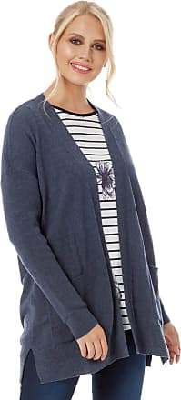 Roman Originals Womens Knit Wooly Plain Side Pockets Cardigan - Ladies Fashion Cardigan for Casual Everyday Autumn Winter Woolies Cold Occasions Cardigans - Indigo -