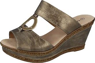 Cushion-Walk Ladies Leather Lined Peep Toe Mid Wedge Heel Slip On Mules Sandals Size 3-8 (UK 6, Pewter/Gold)