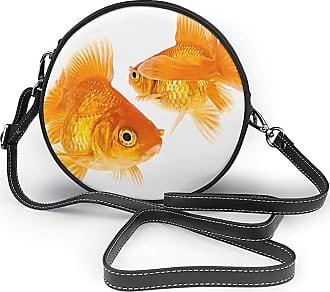 Turfed Cute Goldfish Print Round Crossbody Bags Women Shoulder Bag Adjustable PU Leather Chain Strap and Top Zipper Small Handbag Handle Tote
