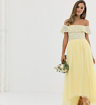 Maya Bridesmaid delicate sequin bardot high low maxi dress in lemon - Yellow