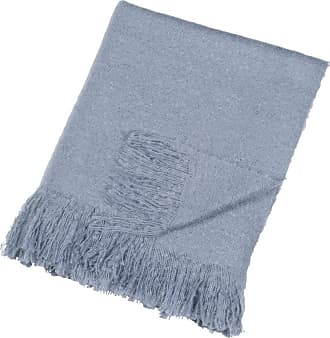 DKNY Mohair Look Throw - Blue