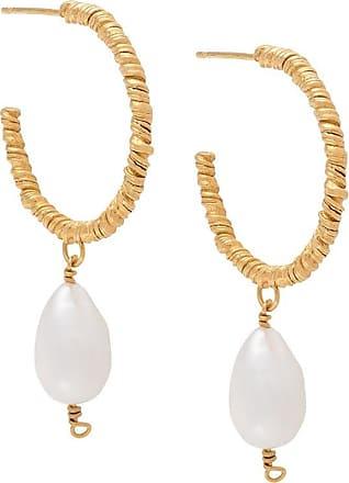 Natalie Perry Jewellery Par de brincos de argolas com detalhe de pingente - Dourado