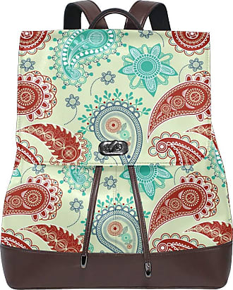 Ahomy Womens Anti-Theft Backpack Purse Vintage Paisley Flower PU Leather Zipper Rucksack Fashion Casual Shoulder Bag