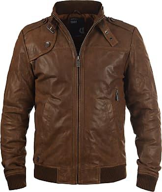 Solid Dash Leather Jacket, Size:XL, Cognac (5048)