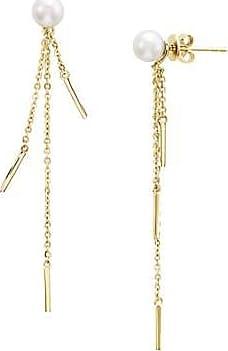 Misaki Boucles doreilles pendantes Seltz dorées avec perles de culture blanches
