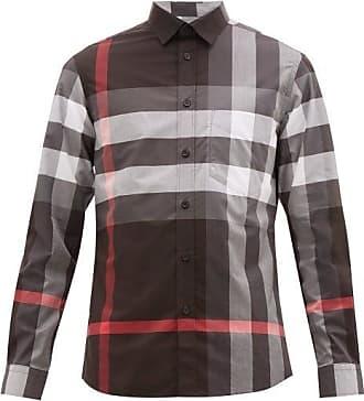 Burberry Somerton Nova-check Cotton-blend Poplin Shirt - Mens - Grey Multi