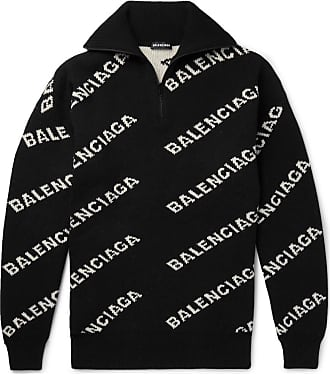 Balenciaga Oversized Logo-intarsia Half-zip Sweater - Black