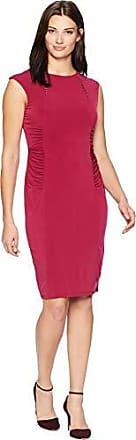 Ivanka Trump Womens Sleeveless Jersey Dress with Hardware Neckline, Scarlet/Black, XS