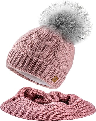 morefaz Set Scarf & Hat Mohair Wool Women Winter Beanie Hat Worm Knitted Hats Fleece Pom Pom (Set Scarf&Hat Rose Pink)