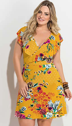 d89c9ce8779 Quintess Vestido Transpassado Estampado Amarelo Plus Size