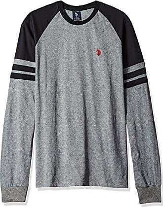 U.S.Polo Association Mens Long Raglan Sleeve Color Block Knit Shirt, Campus Heather Grey, Small