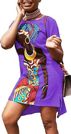 d2424109cdbc Security Women Traditional African Print Dashiki Short Sleeve Bodycon  Stretch Dress Purple XS