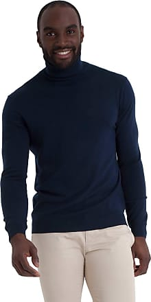 WoolOvers Mens 100% Merino Polo Neck Knitted Sweater Navy, L