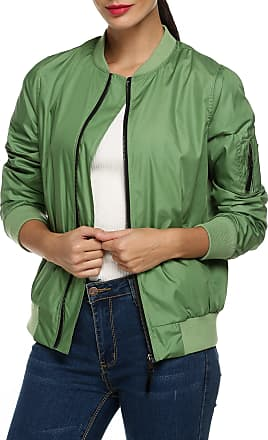 Zeagoo Womens Classic Quilted Jacket Short Bomber Jacket Coat, Army Green 2, L