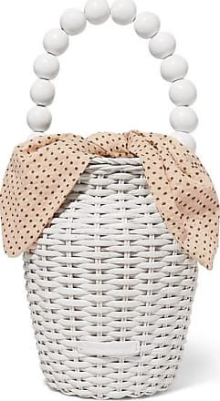Loeffler Randall Louise Wicker And Polka-dot Canvas Tote - White
