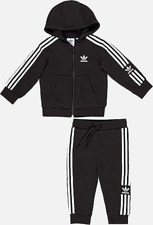 adidas Originals adicolor Three Stripe Cropped Hoodie In Black