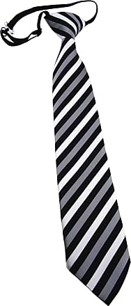 TigerTie Security tie necktie silver gray black striped - Pre-bound with elastic