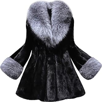 FNKDOR LEXUPE Women Autumn Winter Warm Comfortable Coat Casual Fashion Jacket Long Section of Imitation Mink Fox Coat with Cap Fur Coat Black