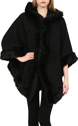 Islander Fashions Womens Italian Faux Fur Trim Hooded Poncho Ladies Wrap Warm Winter Cape Poncho Black One Size UK 8-22
