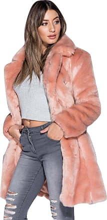 Momo & Ayat Fashions Celebrity Inspired Teddy Bear Fur Longline Coat UK Size 6-14 (UK 10 (EUR 38), Pink Fur)