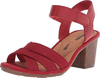 b0037508d88 Clarks Womens Sashlin Jeneva Heeled Sandal red Nubuck 9.5 Medium US