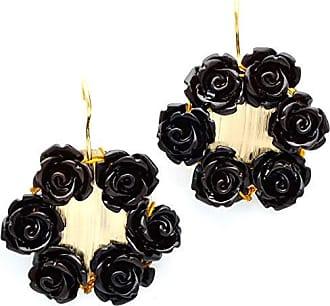 Tinna Jewelry Brinco Dourado Com Flor De Resina (Preto)