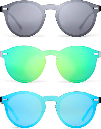JIM HALO Polarized Rimless Sunglasses Reflective One Piece Round Mirrored Eyeglasses for Men Women 3 Pack (Silver & Green & Blue)