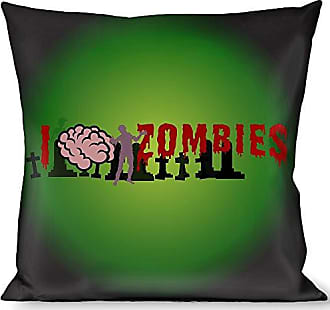 Buckle Down Pillow Decorative Throw I Brain Zombies Black Green Red