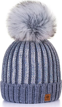 4sold Womens Ladies Winter Hat Knitted Beanie Large Pom Pom Cap Ski Snowboard Hats Bobble Gold Circle (Grey)