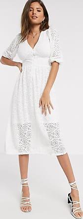 River Island v-neck broderie midi smock dress in white
