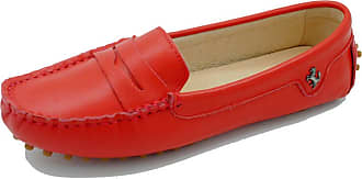 MGM-Joymod Womens Rubber Sole Slip-on Casual Comfortable Red Leather Driving Loafers Flats Outdoor Hiking Slide Boat Shoes 6.5 M UK
