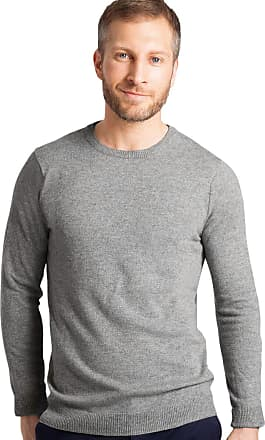 WoolOvers Mens Cashmere and Merino Crew Neck Knitted Jumper Grey Marl, XXL