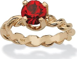 PalmBeach Jewelry Round Birthstone 10k Gold Baby Ring Charm - July- Simulated Ruby