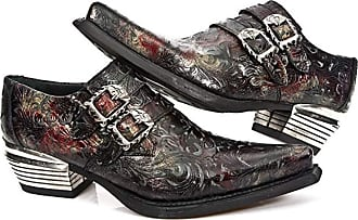 New Rock Mens Dallas M.7960-S5 Black Vintage Red Flower Leather Western Steel Paisley Shoes (10 UK, Black)