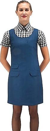 Relco Womens Blue Tonic Two Tone Fitted Pinafore Dress 60S Mod Skin Ska Skinbryd, UK 14-34 Waist