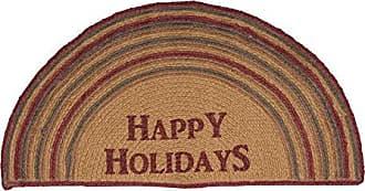 VHC Brands 6849 Christmas Flooring-Happy Holidays Tan Stenciled Half Circle Jute Rug, 16.5 x 33