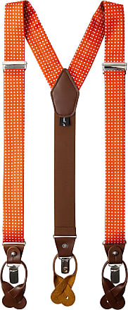 Jacob Alexander Mens Polka Dot Y-Back Suspenders Braces Convertible Leather Ends and Clips - Orange