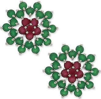 Renata Rancan Brinco Flor Cravejado com Zircônias Banho em Ródio - Rosa Pink, Verde