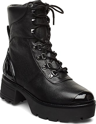 Michael Kors Khloe Lace Up Bootie Shoes Boots Ankle Boots Ankle Boots With Heel Svart Michael Kors Shoes