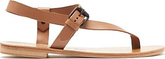 ÁLVARO GONZÁLEZ Andreina Asymmetric Leather Sandals - Womens - Tan
