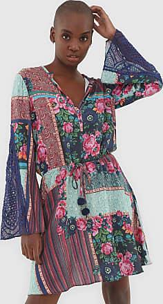 Lez a Lez Vestido Lez a Lez Curto Patch Floral Azul-Marinho/Rosa