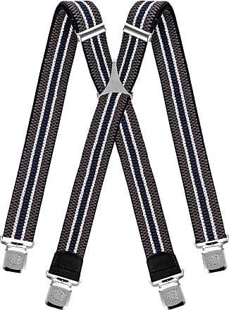Decalen Mens braces wide adjustable and elastic suspenders X shape with a very strong clips Heavy duty (Grey White Navy Blue)