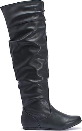 Truffle New Black Microfiber Huo1 Ladies Vegan Knee Boots[Ladies UK 4 / EU 37]