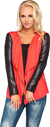 FUTURO FASHION Ladies Smart Jersey Waterfall Cardigan Wet Look Sleeves Cotton Blazer Bolero Style 8079 Coral 14 UK (XL)