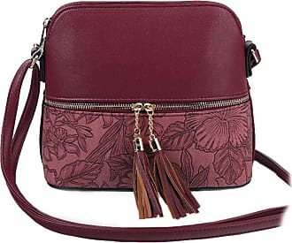LeahWard Womens Quality Faux Leather Cross Body Bags Tassel Shoulder Bag Handbags For Holiday Party 1061 (Burgundy Floral)
